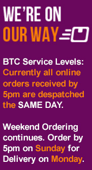 Currently all online orders received by 5pm are despatched the SAME DAY.