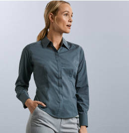 View Russell Collection Ladies L/SL Poplin