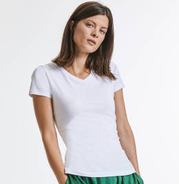 View Russell Ladies Pure Organic V-Neck Tee
